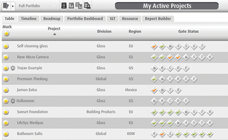 Smart PPM Software - Project portfolio management - portfolio dashboard of active projects