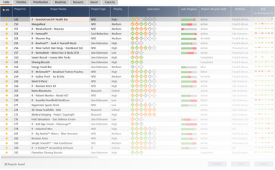 Project Portfolio Management software ppm - project management list view