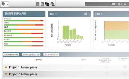 PPM Software Utility Company - Project Portfolio Dashboard Asset Management & Outcome Driven Incentives ODIs