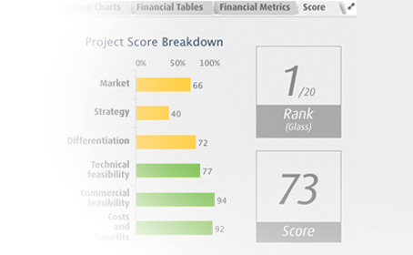 example of project evaluation scorecard - project portfolio management software ppm cpg consumer packaged goods (CPG / FMCG)