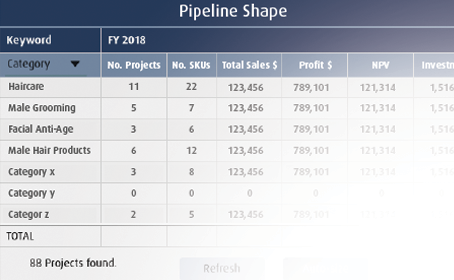 Example of project pipeline project portfolio management software ppm consumer packaged goods (CPF / FMCG)