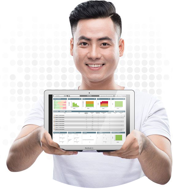 Image of PMO leader holding laptop with Project Portfolio Management Software on screen