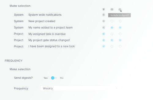 project collaboration tools - daily digest frequency preferences