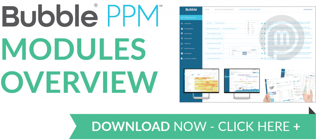 Download button - High level modules overview - Bubble Project Portfolio Management Software PPM