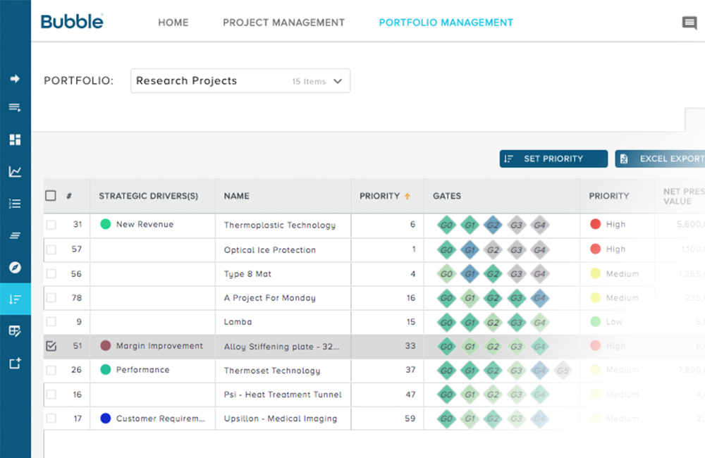 Screenshot - Project Prioritization Tools - Download brochure image - Bubble project portfolio management software for managing remote working teams